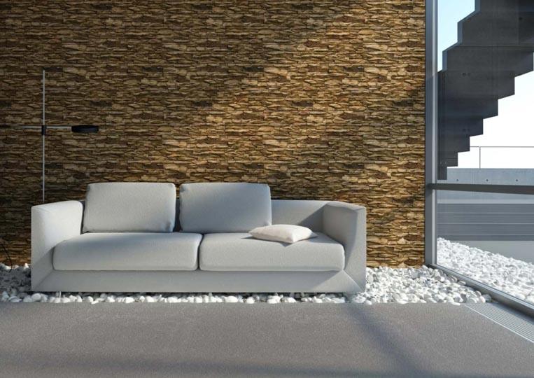 Salon extérieur devant un pant de mur en pierre reconstituée mathios cordillera couleur café