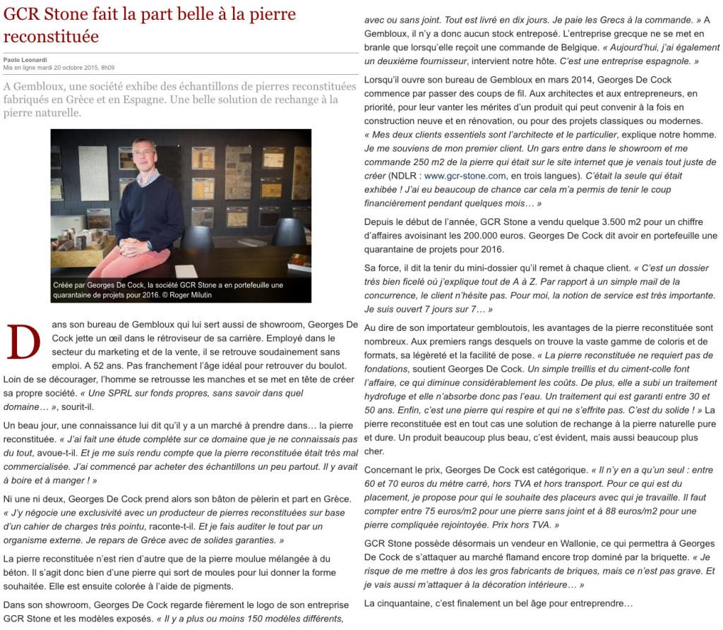 Article du journal Le Soir Octobre 2015