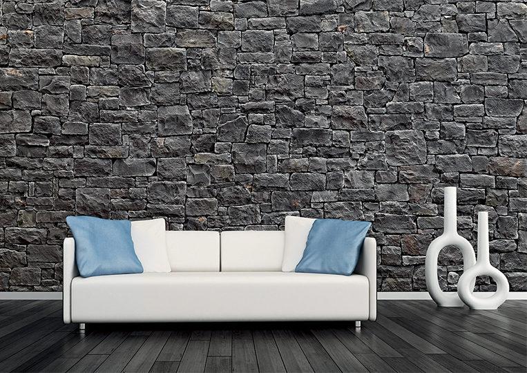 divan blanc et pant de mur en pierre reconstituée Rastone masso anthracite