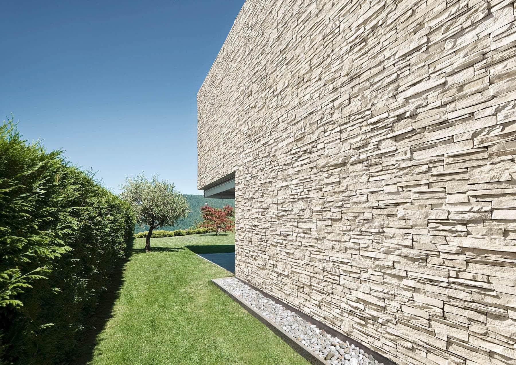 Mur en pierre de parement acl siena de couleur café