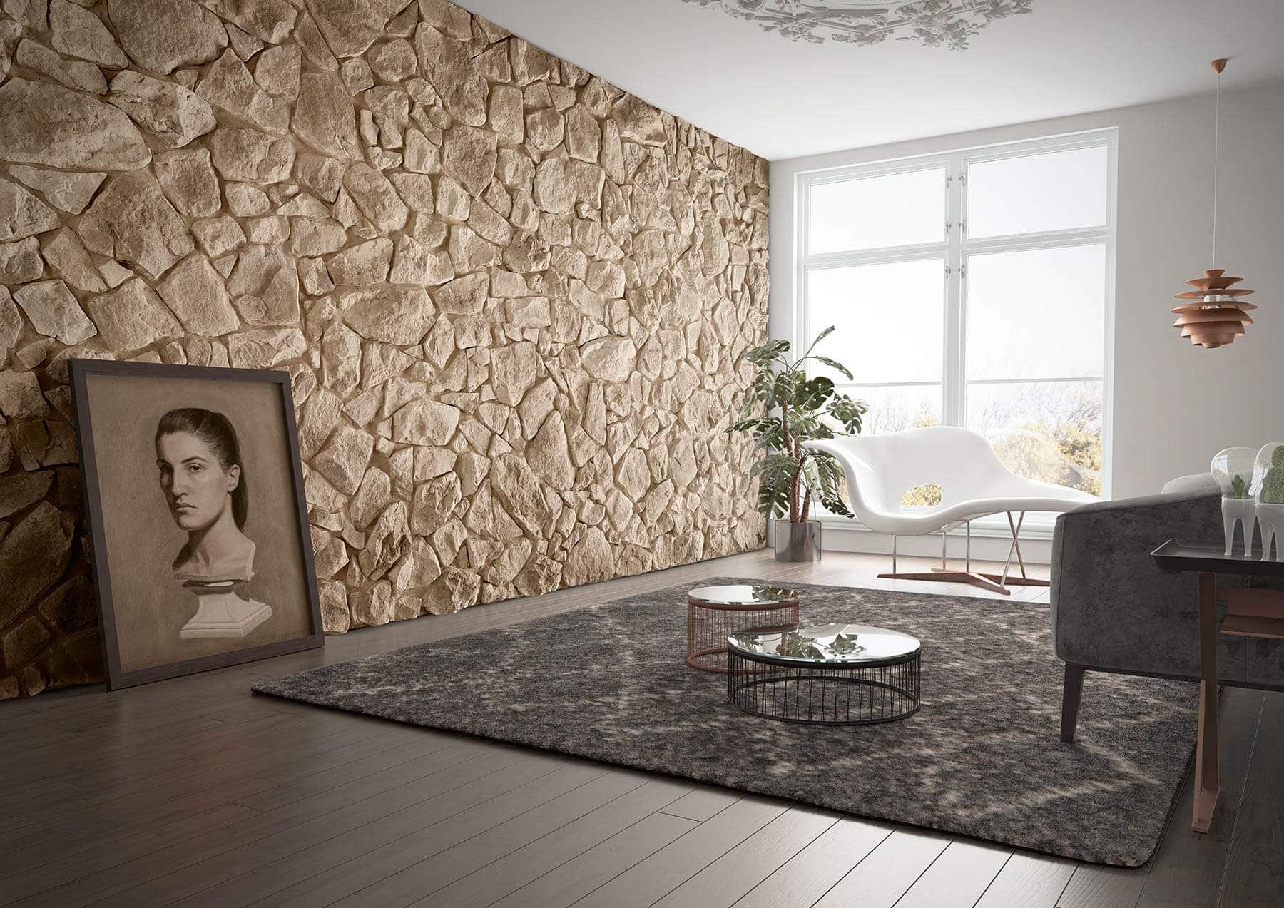 Mur en pierre de parement acl vénus de couleur café