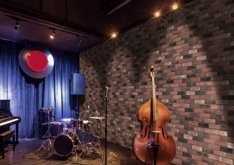 Studio de musique avec pant de mur en pierre de parement mathios masterbrick
