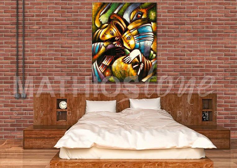 Salon avec cheminée en pierre de parement mathios masterbrick
