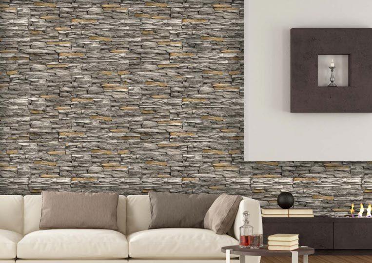 Salon avec un pant de mur en pierre reconstituée mathios cordillera gris