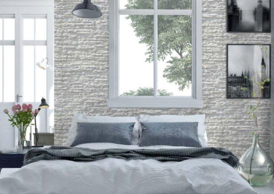 Mur tête de lit en pierre reconstituée mathios dune clair