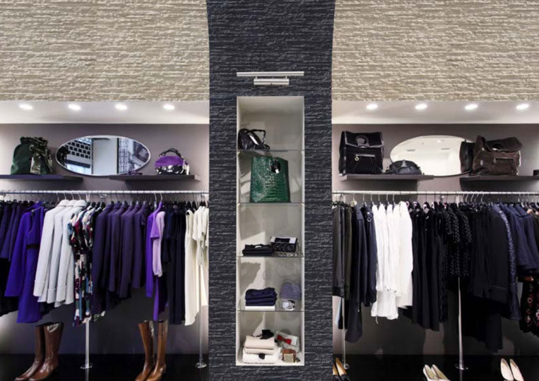 Présentoir de magasin en pierre reconstituée mathios dune anthracite