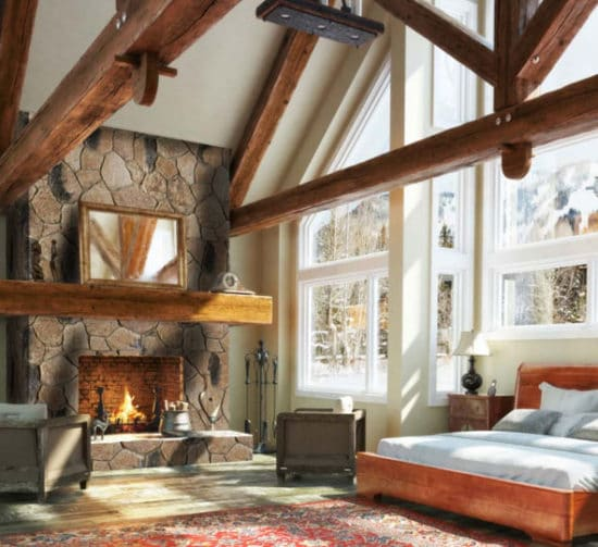 Grande chambre à coucher avec cheminée en pierre reconstituée mathios ekali