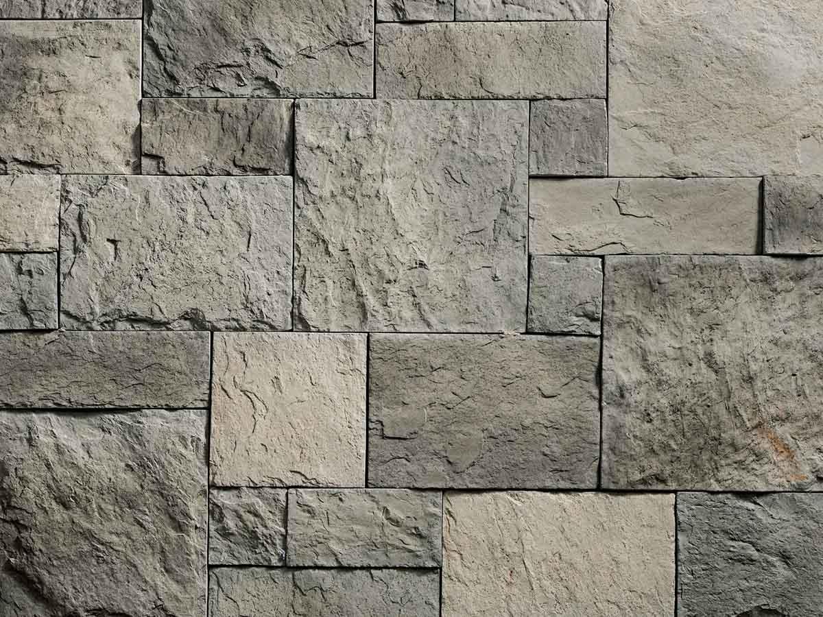 Mur en pierre reconstituée rastone petra de couleur olive