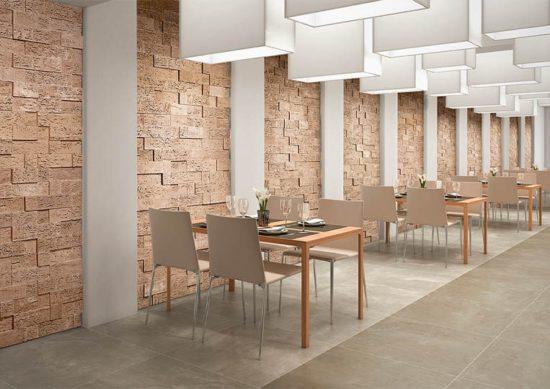 Intérieur de restaurant avec un pant mur en pierre de parement acl stone cork clair