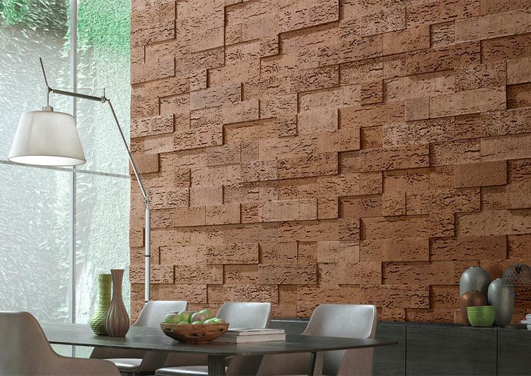 Salle à manger avec un pant de mur en pierre de parement acl stone cork café