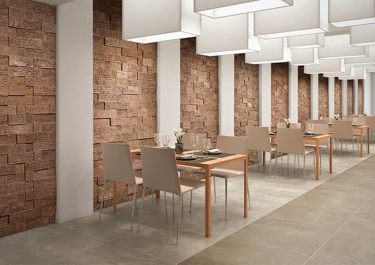 intérieur de restaurant avec pants de murs en pierre de parement acl stone cork café