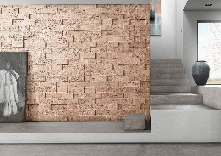 Pant de mur moderne en pierre de parement acl stone cork clair