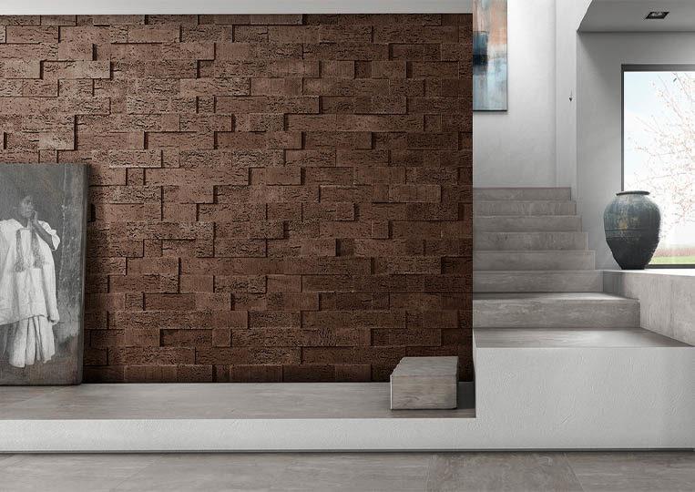 Pant de mur moderne en pierre de parement acl stone cork café foncé