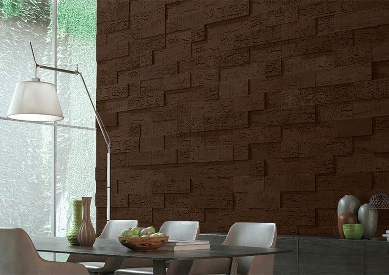 Salle à manger avec un pant de mur en pierre de parement acl stone cork café foncé