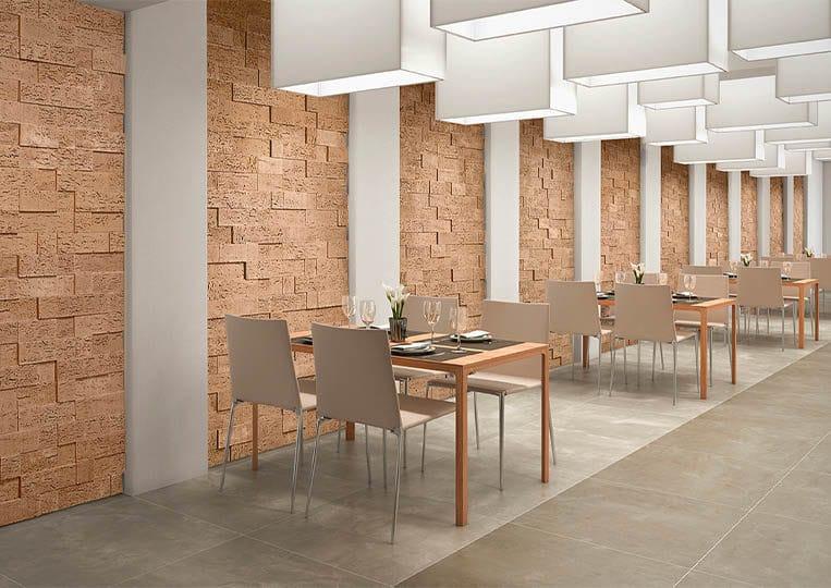 intérieur de restaurant avec pants de murs en pierre de parement acl stone cork clair