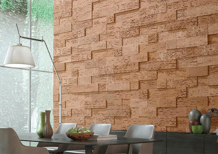 Salle à manger avec un pant de mur en pierre de parement acl stone cork sable