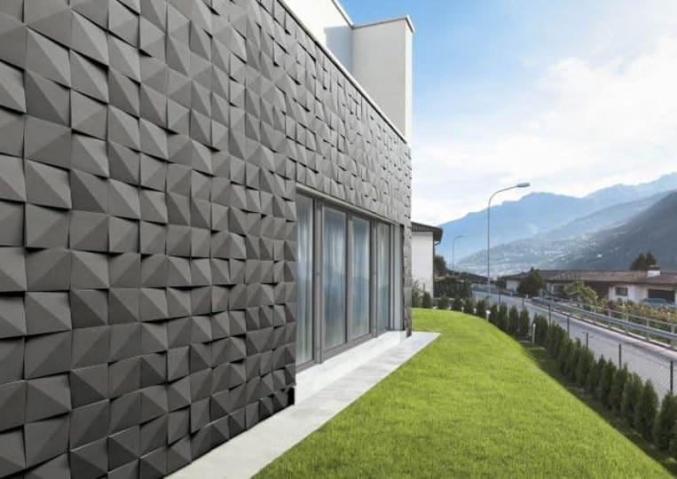 Côté extérieur d'une maison en pierre de parement acl vertices noir