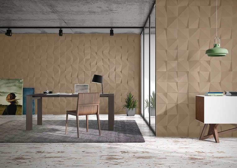 Pièce de bureau avec des murs en pierre de parement acl vertices café
