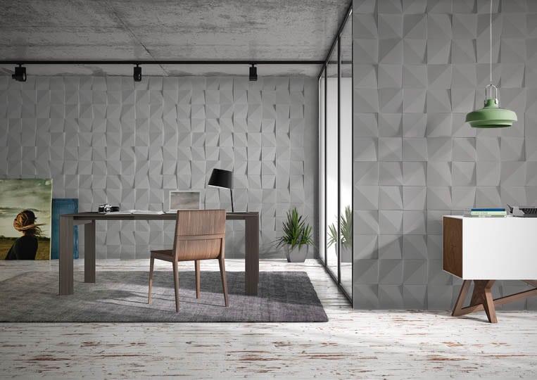 Pièce de bureau avec des murs en pierre de parement acl vertices gris