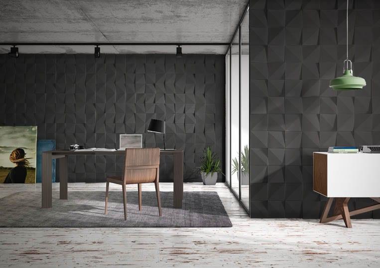 Pièce de bureau avec des murs en pierre de parement acl vertices noir
