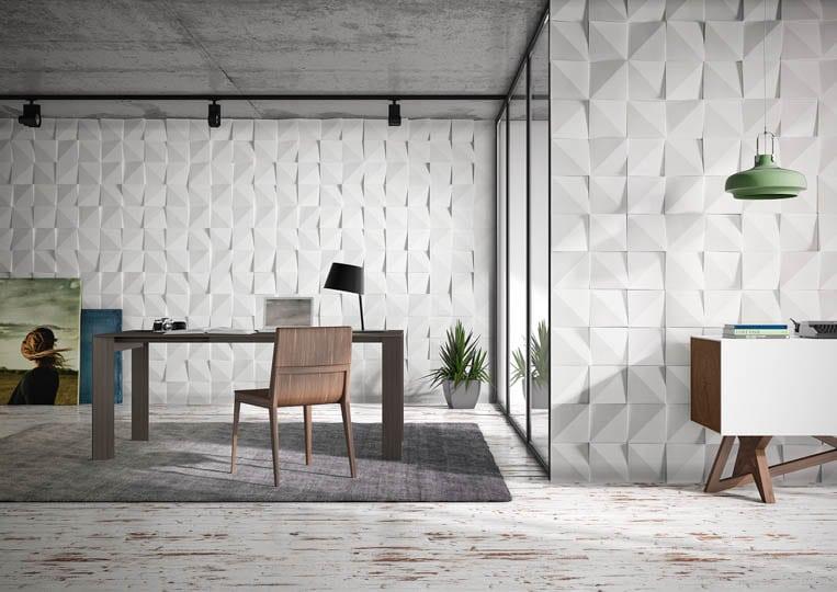 Pièce de bureau avec des murs en pierre de parement acl vertices clair