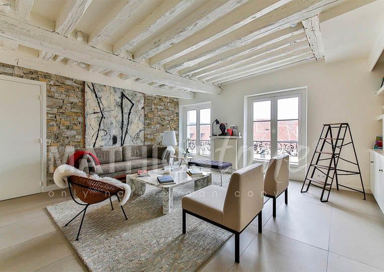 Salon avec un pant de mur en pierre de parement mathios isola