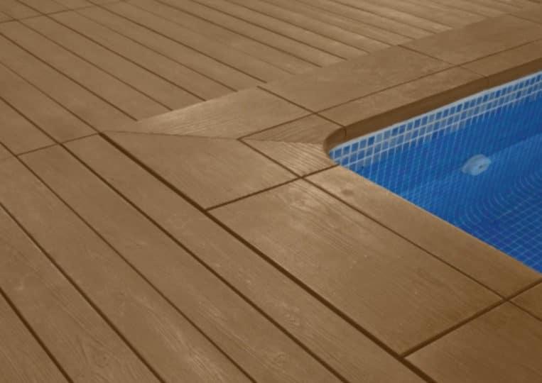 Bord de piscine en pierre reconstituée acl madeira deck classic couleur café