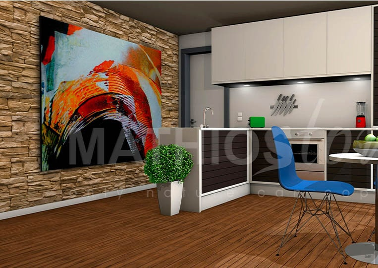 Cuisine avec salle à manger et pant de mur en pierre reconstituée mathios cordillera couleur café
