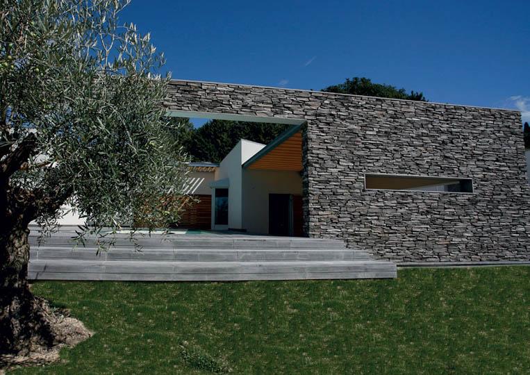 Mur extérieur en pierre reconstituée pietre d'arredo olkaria