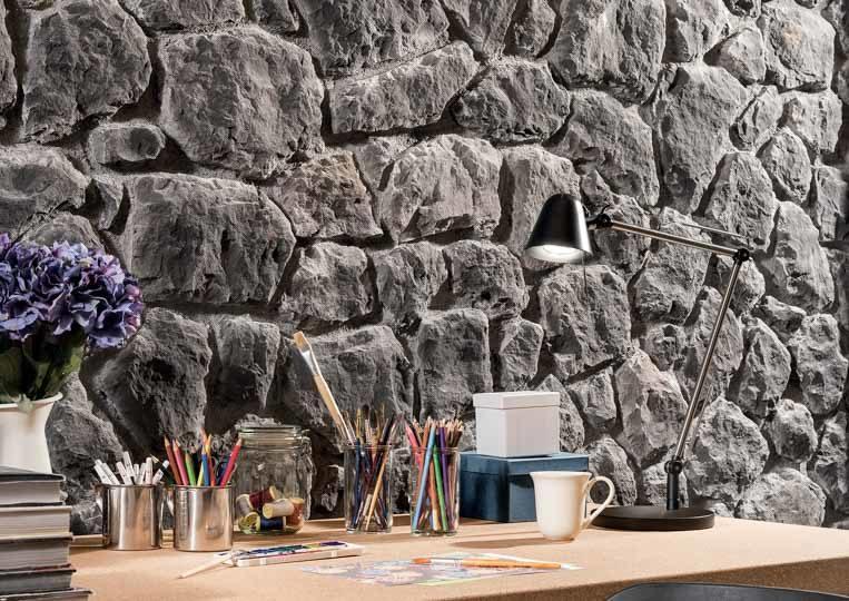 Bureau avec pant de mur en pierre reconstituée rastone atlas couleur anthracite