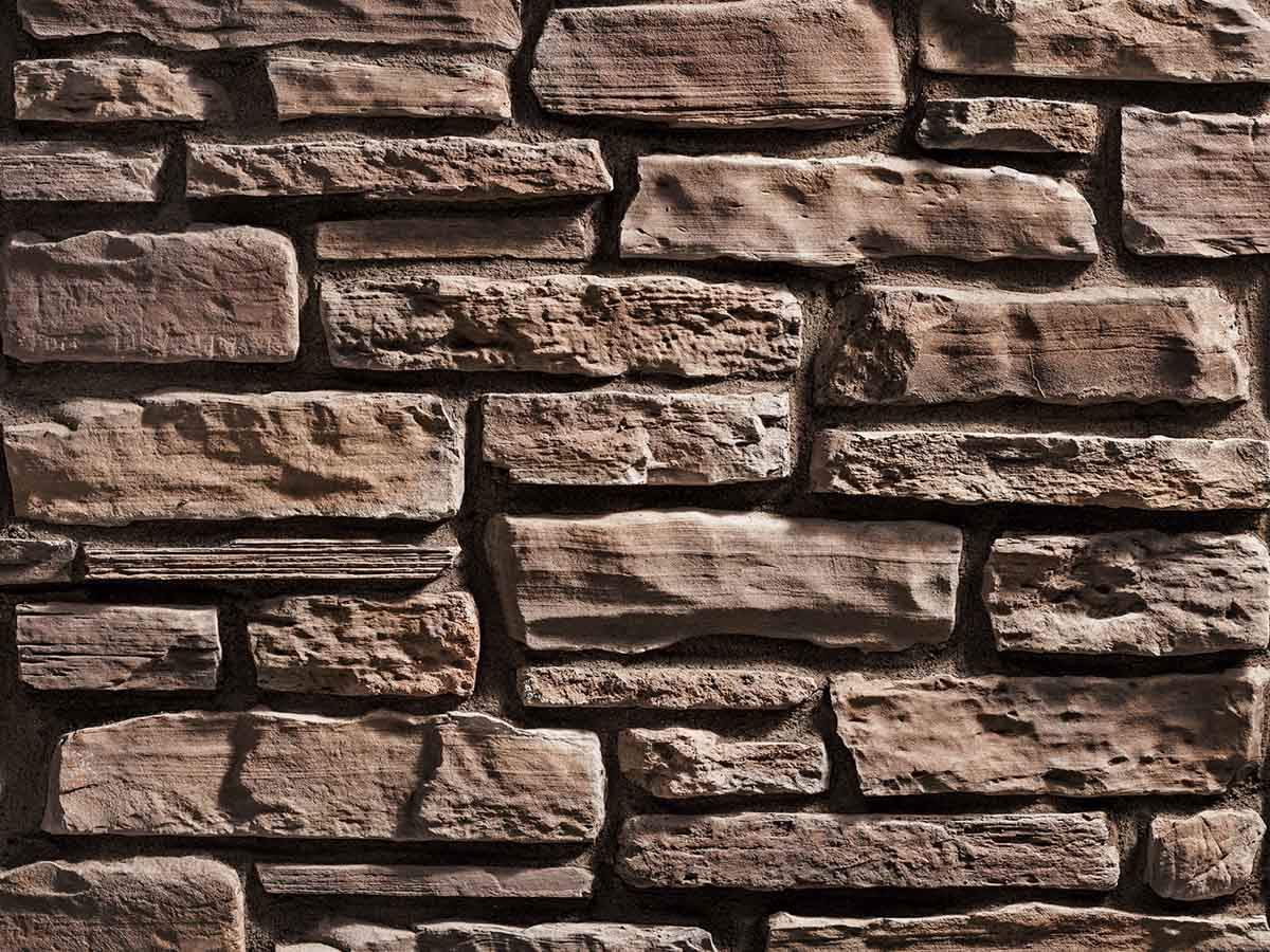 Mur en pierre reconstituée rastone grand canyon de couleur café