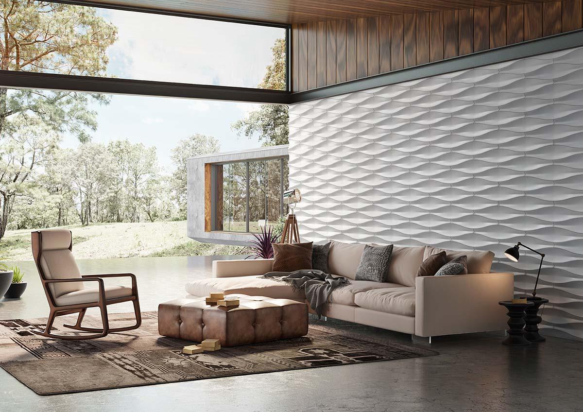 Salon avec un pant de mur design en pierre reconstituée couleur clair acl leaf