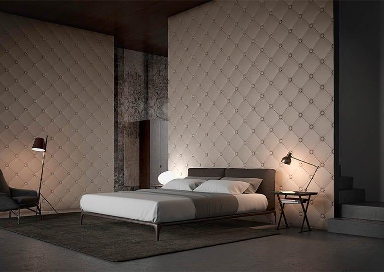 Chambre à coucher moderne avec un dos de lit en pierre reconstituée couleur café acl capitoné