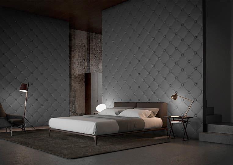 Chambre à coucher moderne avec un dos de lit en pierre reconstituée couleur gris acl capitoné