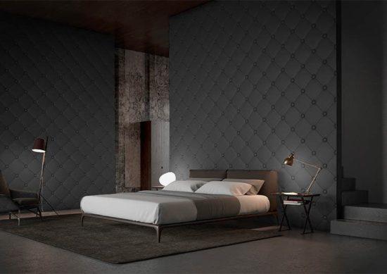 Chambre à coucher moderne avec un dos de lit en pierre reconstituée couleur noir acl capitoné