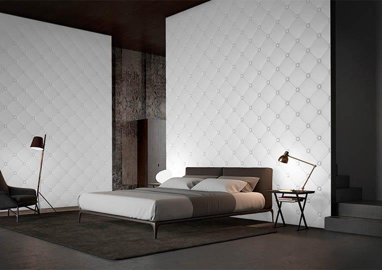 Chambre à coucher moderne avec un dos de lit en pierre reconstituée couleur clair acl capitoné