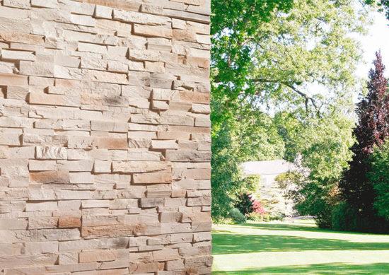 Coin de mur extérieur en pierre reconstituée acl caster sable