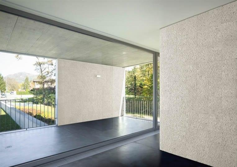 Pant de mur intérieur en pierre reconstituée acl cubus de couleur clair