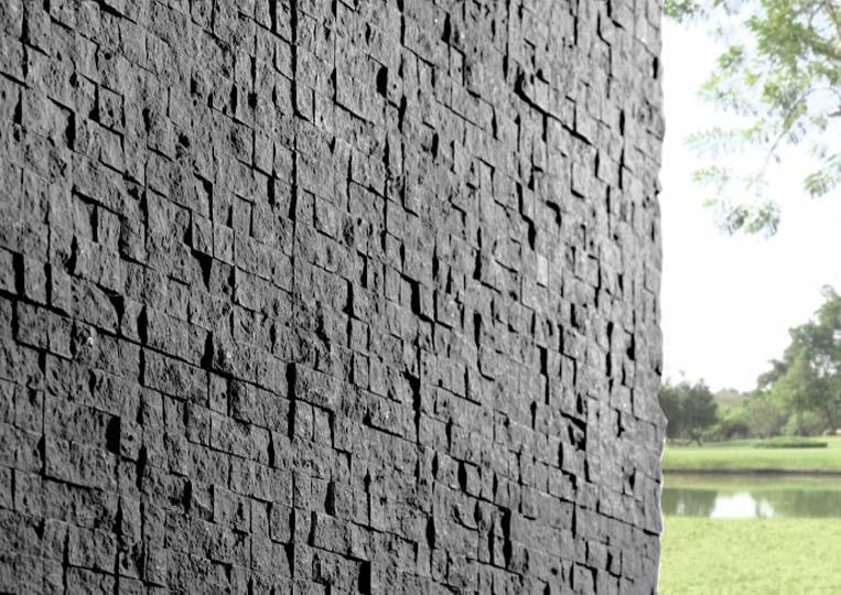 Coin de mur extérieur en pierre reconstituée couleur gris acl cubus