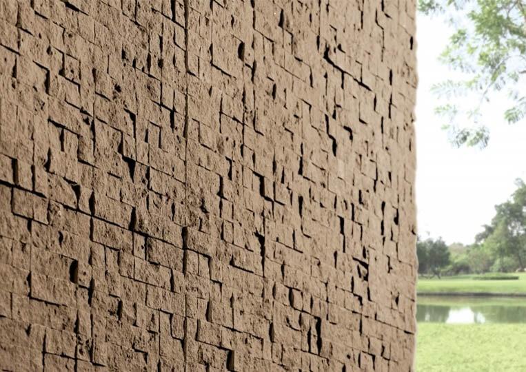 Coin de mur extérieur en pierre reconstituée couleur café acl cubus
