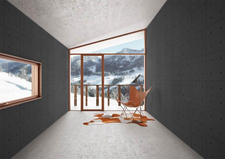 Intérieur moderne vue sur montagnes avec des murs en pierre reconstituée acl hando noir