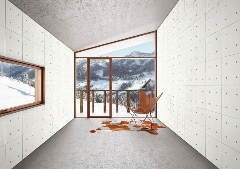 Intérieur moderne vue sur montagnes avec des murs en pierre reconstituée acl hando clair