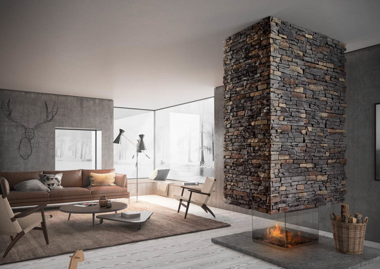 Salon moderne avec cheminée en pierre reconstituée acl luna anthracite