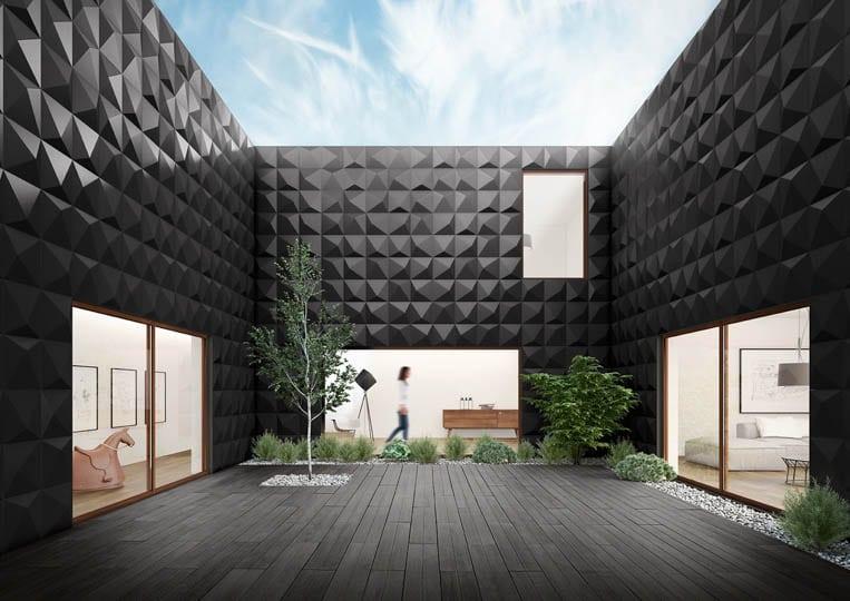 Terasse extérieure avec une imitation parquet anthracite acl madeira deck classic