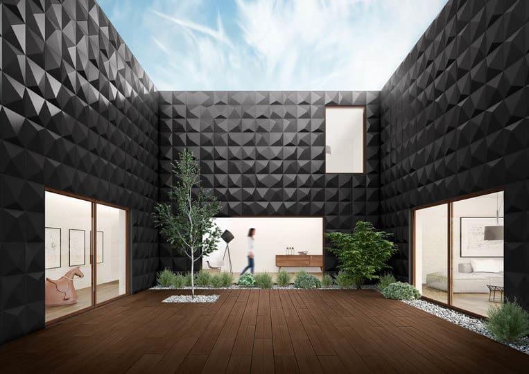 Terasse extérieure avec une imitation parquet café foncé acl madeira deck classic