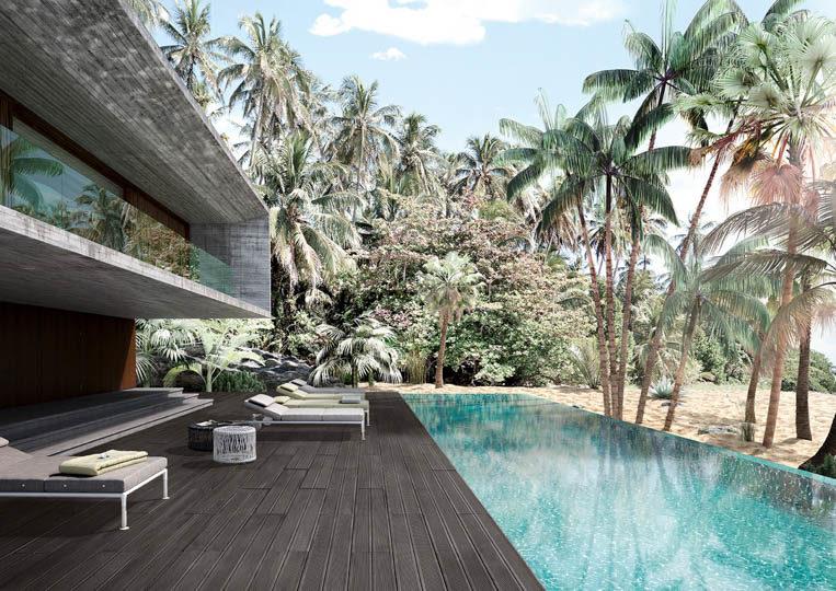 Terasse extérieure avec piscine et un sol imitation bois couleur anthracite acl madeira deck striped