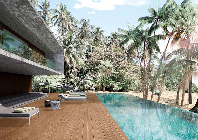 Terasse extérieure avec piscine et un sol imitation bois couleur café acl madeira deck striped