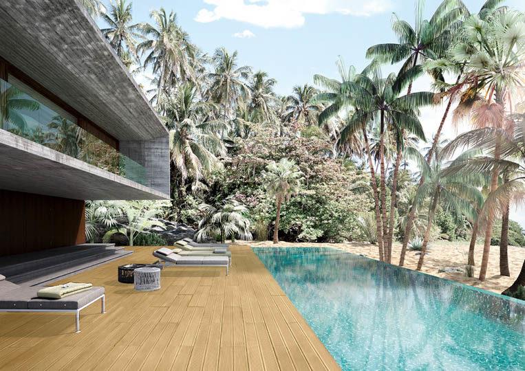 Terasse extérieure avec piscine et un sol imitation bois couleur sable acl madeira deck striped