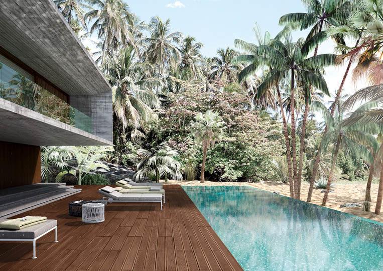 Terasse extérieure avec piscine et un sol imitation bois couleur café foncé acl madeira deck striped