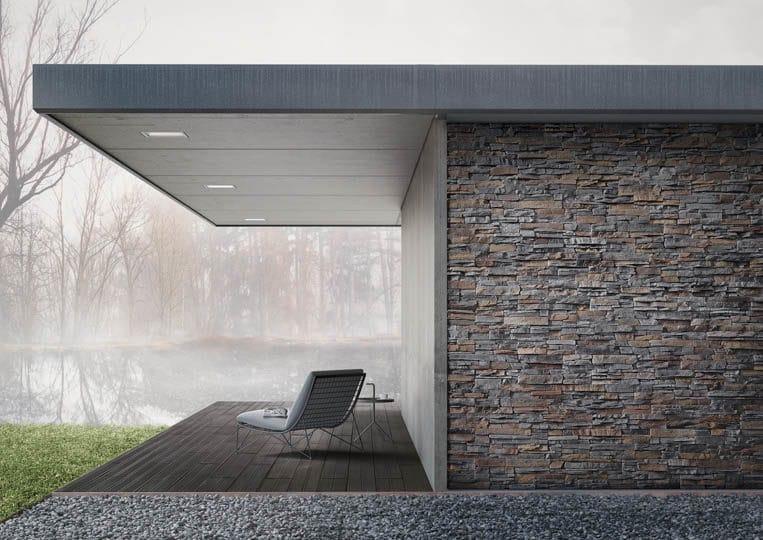 Terasse extérieure couverte avec vue sur lac et un sol en imitation bois couleur anthracite acl mdaeira deck striped